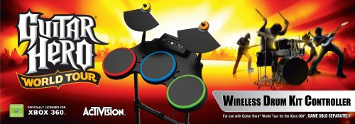 Xbox 360 Guitar Hero World Tour - Stand Alone (Wireless Guitar Drums)