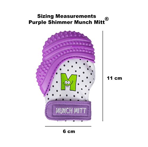 Munch Mitt® Teething Toy Stays on Baby's Hand is Self-Soothing Entertainment and Gives Pain Relief from Teething plus is Ideal Baby Shower Gift that includes Handy Travel/Laundry Bag– Set of 2 Purple by Munch Mitt (Image #6)