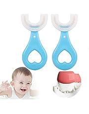 Fkxczn Alle afgeronde kinderen U-vormige tandenborstel, 360 ° mondtandenborstel, met siliconen borstelkop whitening massage tandenborstel U-type tandenborstel voor kinderen 2-12 jaar oud