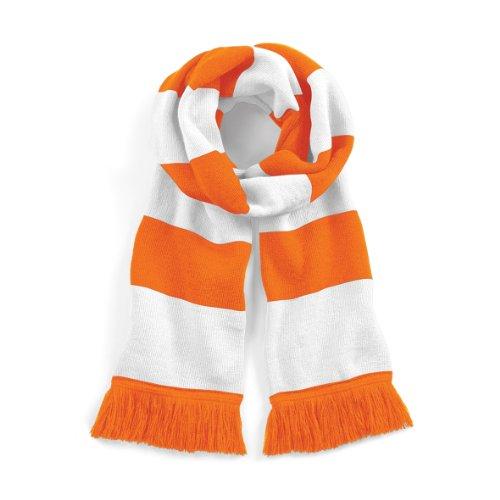 Beechfield Varsity Unisex Winter Scarf (Double Layer Knit) (One Size) (Orange / White)