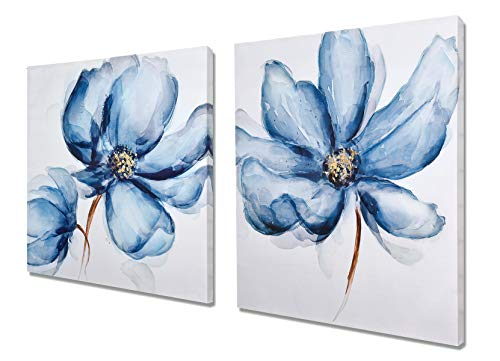 Poppy Print Set Framed - Fox Art Canvas Print Wall Art Decor Set of 2 Panels Navy Blue Poppies Watercolor Oil Paintings Hand Painted Modern Canvas Picture for Wall Living Room Bedroom Stretched and Framed Ready to Hang 56x28