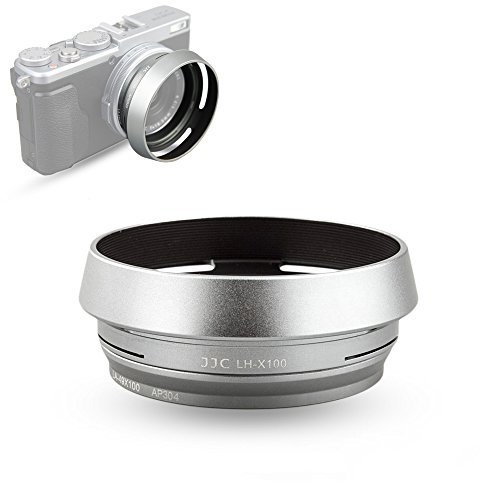 JJC Silver Lens Hood Shade for Fuji Fujifilm Finepix X100F, X100T, X100S, X100 Camera, Replaces Fujifilm LH-X100 Lens - Shade Lense