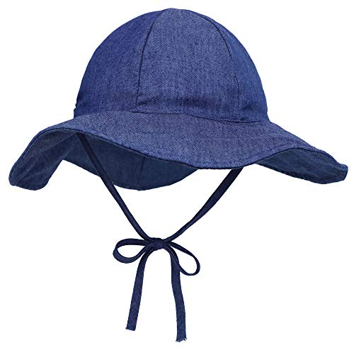 ThunderCloud Baby 50+ UPF Protective Wide Brim Sun Hat,Denim,S (Blue Denim Bucket Hat)
