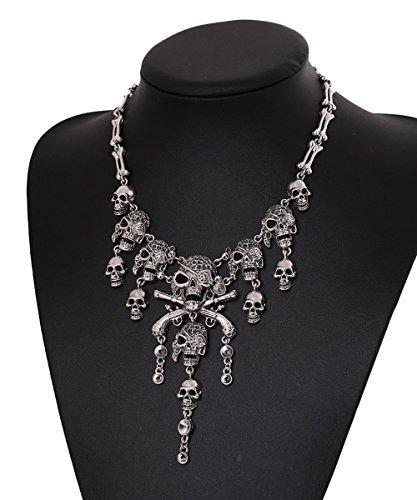 Cos2be Skeleton Skull Necklace Vintage Statement Necklace (Skull Ⅱ-Ancient Silver) ()