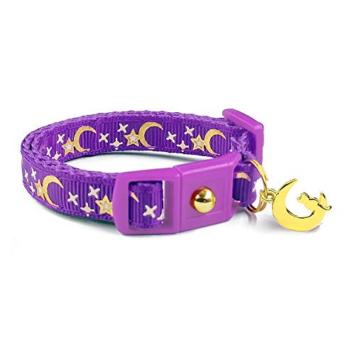 waaag Pet Collar Gold Moons Stars Cat Collar, Breakaway Cat Collar, Glow in The Dark (Purple, 6.5