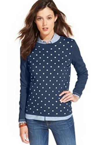 Tommy Hilfiger Women's Crew Neck Pullover Sweater (Large, Masters Navy/Polka (Dot Crew Sweatshirt)