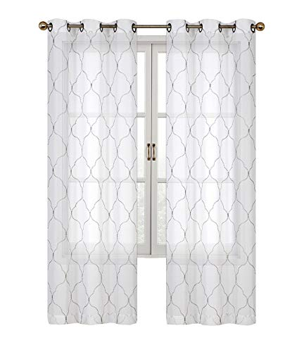2 Pack: Regal Home Collections Brenda Trellis Embroidered Sheer Voile Grommet Curtain Panels - Assorted Colors (Curtain Collection)
