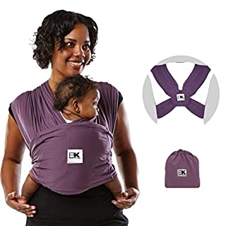 Baby K'tan Original Baby Wrap Carrier, Infant and Child Sling - Simple Pre-Wrapped Holder for Babywearing - No Tying or Rings - Carry Newborn up to 35 lbs, Eggplant, Women 16-20 (Large), Men 43-46