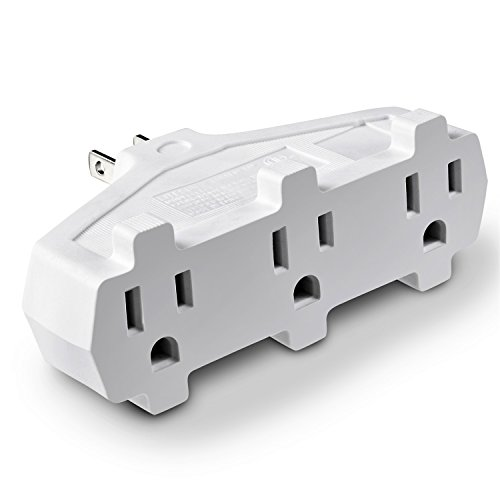 3 Outlet Wall Adapter Tap, Fosmon 3-Prong Grounded Indoor AC Mini Plug, ETL Listed with Phone Charging Station Holder - White