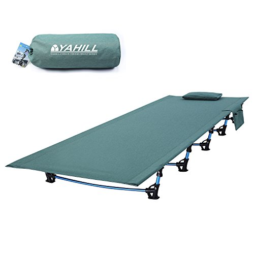 (YAHILL Ultralight Folding Camping Cot Sleeping Collapsible Portable Foldable Bed Aluminum Replacements for Tent Backpack, Adults Youth Outdoor Travel Hiking Fishing Hunting (Extended Vision/Green))