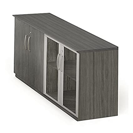 Mayline MVLCLGS Medina Low Wall Cabinet with 2 Wood and 2 Glass Doors Gray Steel  sc 1 st  Amazon.com & Amazon.com: Mayline MVLCLGS Medina Low Wall Cabinet with 2 Wood and ...