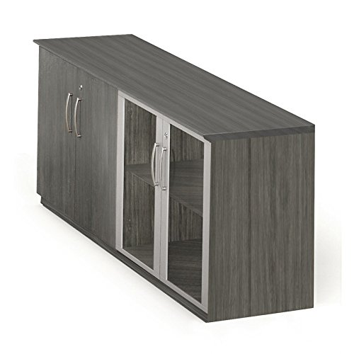 Mayline MVLCLGS Medina Low Wall Cabinet with 2 Wood and 2 Glass Doors, Gray Steel (Heritage 2 Door Cabinet)