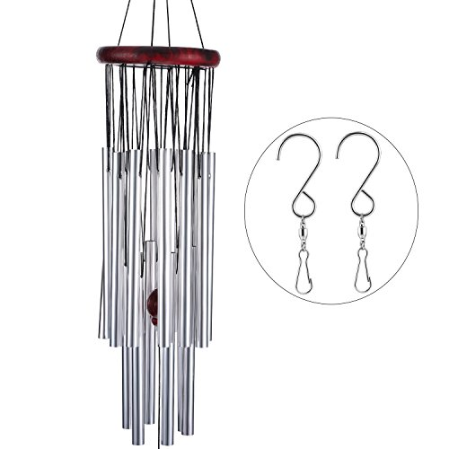 Cheap TecUnite Wind Chimes Grace Chime 18 Aluminum Alloy Tubes Large Wind Bells for Decorating Indoor Conversation Area Balcony Back Porch Outdoor Patio Backyard, Garden with 2 Pack Swivel Hooks Clips, Silv