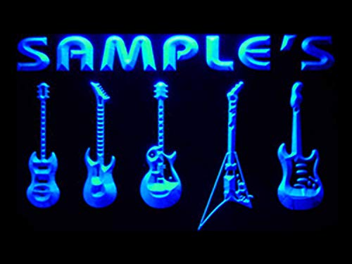 """Price comparison product image ADVPRO Name Personalized Custom Guitar Hero Weapon Band Music Room Bar Neon Sign Blue 24"""" x 16"""" st4s64-qp-tm-b"""