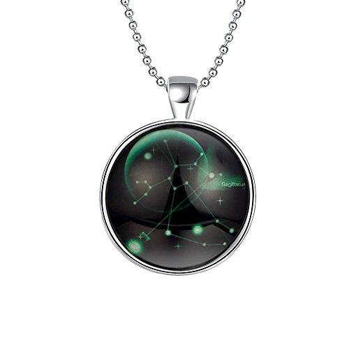 PAURO Jewelry Luminous Collection Galaxy Sagittarius Glow in the Dark Pendant Necklace Green (Glow In The Dark Jewelry Wholesale)