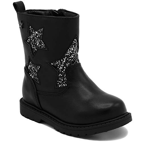 Naturino Express Kids NE Rosina Girls Shoe with Engraved Sequence Stars Zipper Mid Calf Boot Black 8 Toddler ()