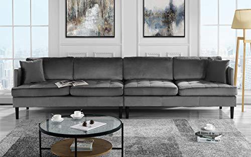 Amazon Mid Century Modern Extra Large Velvet Sofa Living Room