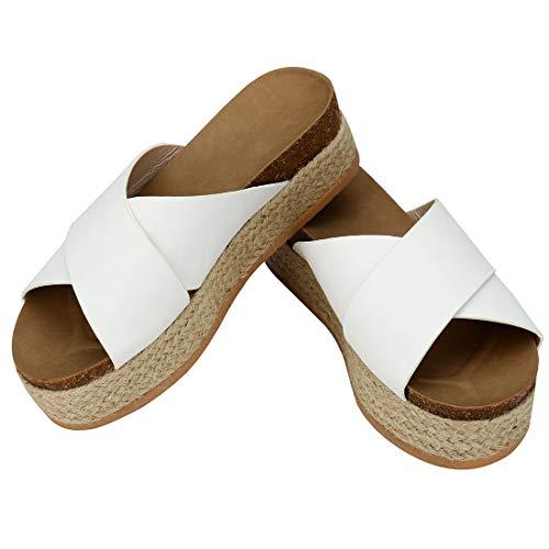 - Womens Platform Espadrilles Slide Sandals Criss Cross Slide-on Open Toe Faux Leather Studded Summer Flat Sandals (White,10 M US)