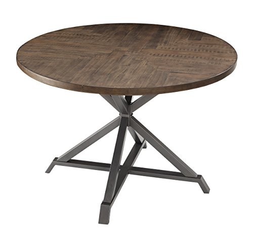 "Homelegance Fideo 45"" Round Industrial Style Dining Table, Pine"