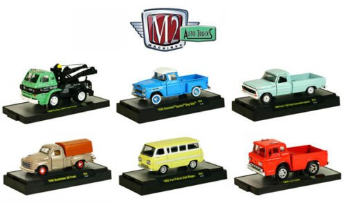 New 1:64 AUTO-TRUCKS SERIES 34 ASSORTMENT IN ACRYLIC CASES - Chevy, Dodge & Ford Diecast Model Car By M2 Machines Set of 6 Cars