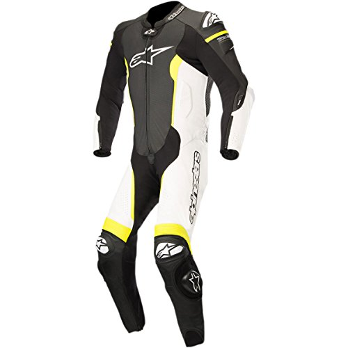 Alpinestars Missile Men's 1-Piece Street Race Suits - Black/White/Yellow / 52 by Alpinestars