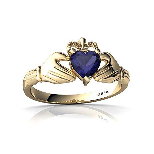 14kt Yellow Gold Sapphire 5mm Heart Claddagh Ring - Size 4 (Yellow Gold Sapphire Claddagh Ring)