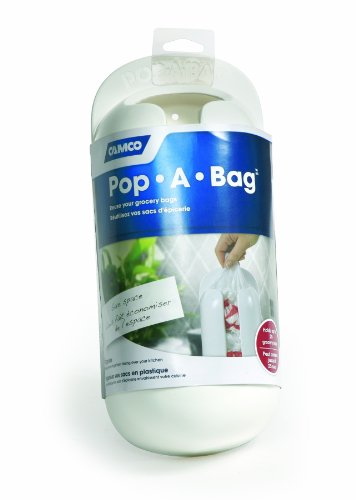 Camco Pop-A-Bag Plastic Bag Dispenser- Neatly Store and Reuse Plastic Grocery Bags, Easily Organize and Conserve Space in Your Kitchen (White) (57061)