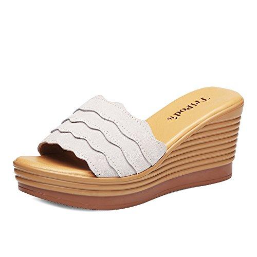 ZHIRONG Sandalias de las mujeres del verano de moda punta abierta sandalias romanas heladas gruesas zapato inferior pendiente deslizadores 8 CM ( Color : Negro , Tamaño : EU39/UK6/CN39 ) Gris