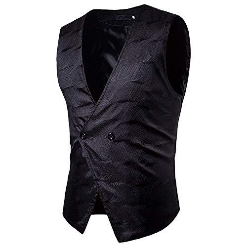 Cut Pour Confortable Veste Vest neck V Schwarz Hommes Business Bouton Les Vestes Casual 1 Battercake Style Slim xPBw88