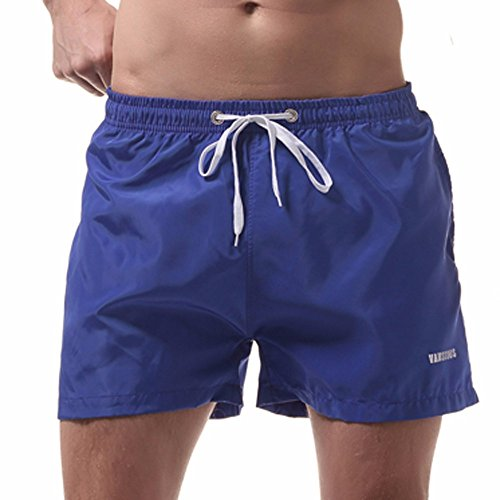 JJLIKER Men Loose Elastic Waist Drawstring Athletic Shorts Soild Color Quick Dry Beach Pants Swimwear with Pockets
