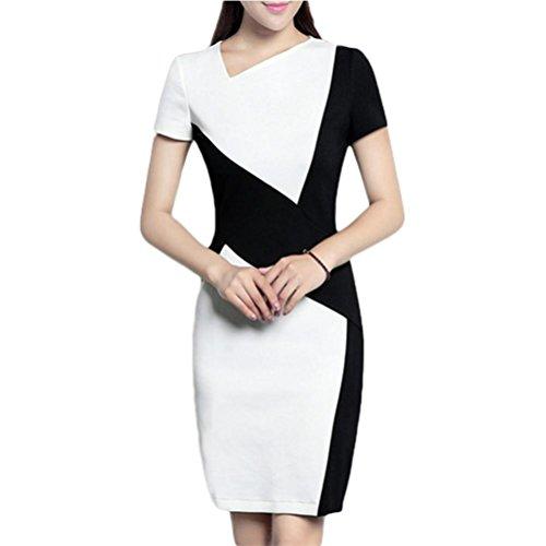 Robe élégante élégante robe de couture en noir et blanc habillement professionnel en hanche - noir et blanc s black and white short sleeved