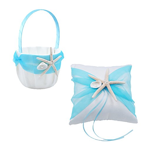 Abbie Home Organza Bowknot Wedding Ring Pillow + Flower Basket Set Romantic Beach Wedding Party Favor-Tiffany Blue