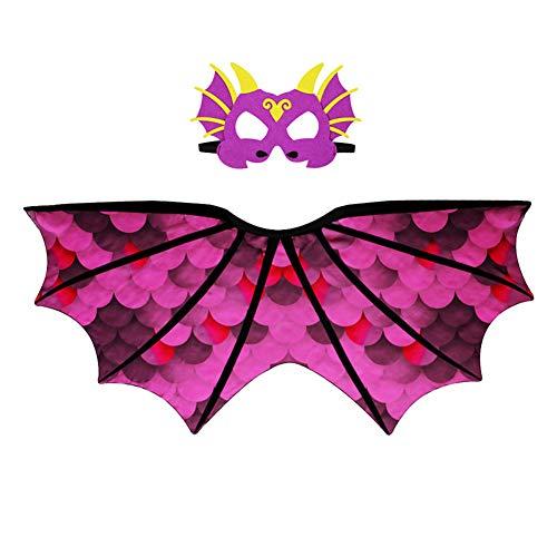 Kids Dinosaur Wings Costume Boys Girls Halloween Costume Cloak+Mask Sets (Purple)