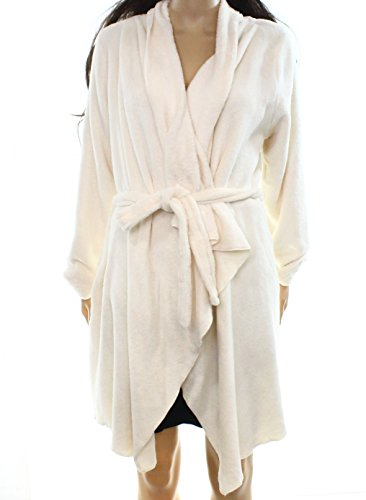 Lord & Taylor Ivory Womens Small Fleece Belted Wrap Robe White Ivory S