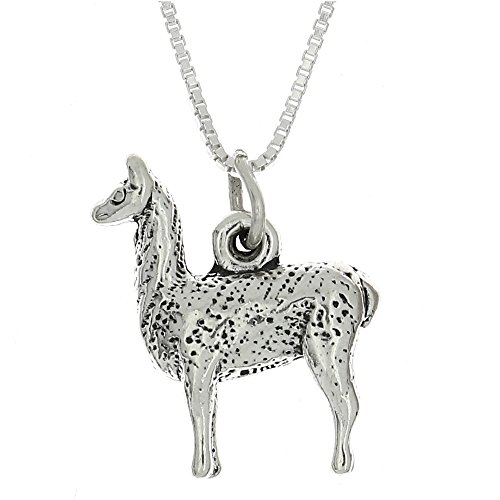 Sterling Silver Oxidized Three Dimensional Llama Charm Pendant with Polished Box Chain Necklace (18 Inches)
