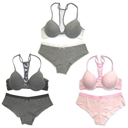 Le Ange Intimates Women 3 Pack Solid Color Race Back Lace Bra Set (34B/M)
