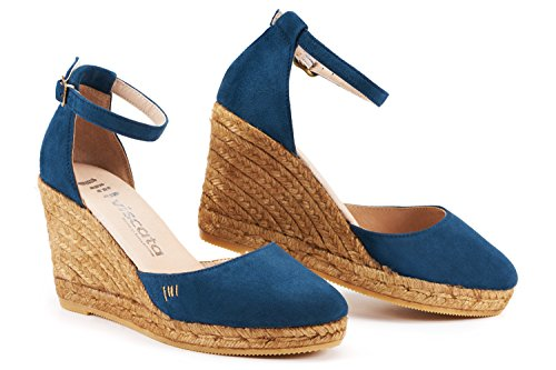 "VISCATA Palamos 3"" Wedge, Soft Suede, Ankle-Strap, Closed Toe, Espadrilles Heel Made In Spain Aqua Blue"