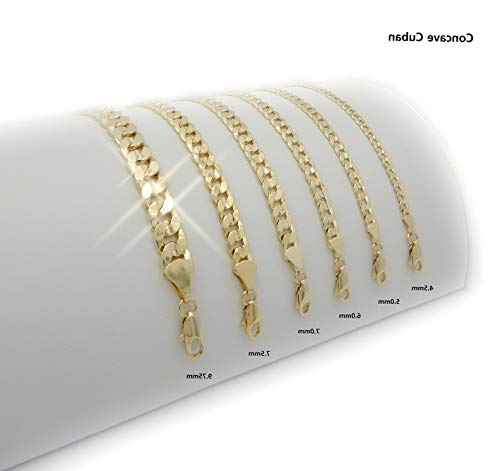 Werrox New 14K Gold Plated C-Cuban Link Necklace Chain (4.5mm to 9.5mm) /(20/24/30) | Model NCKLCS - 4158 | 7mm / 30