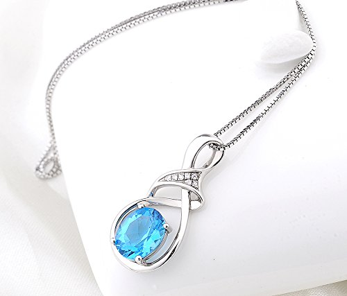 Sterling silver and swiss blue natural topaz gemstone pendant sterling silver and swiss blue natural topaz gemstone pendant necklace mozeypictures Gallery