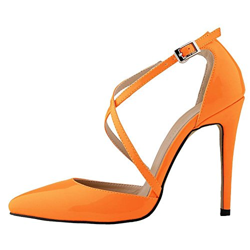 High Ankle Stilettos Pumps Summer Sandals Strap Womens Heels Loslandifen Orange 74wT5WqEI5