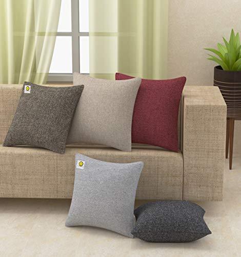Yellow Weaves™ Decorative Jute Cushion Covers (16 X 16 Inches) Set of 5, Multi Colour (B07STLNHN4) Amazon Price History, Amazon Price Tracker
