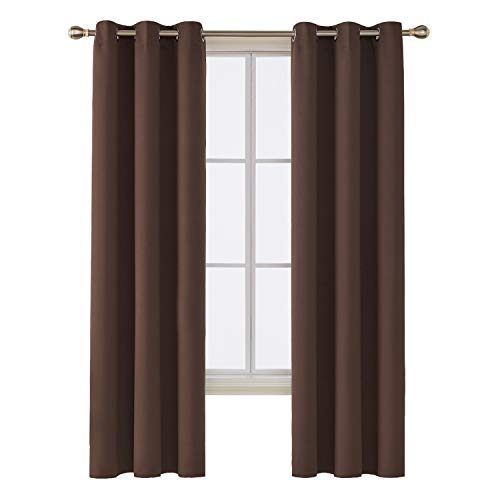 Deconovo Room Darkening Thermal Insulated Blackout Grommet Window Curtain for Bedroom, Chocolate,42x84-inch,1 ()