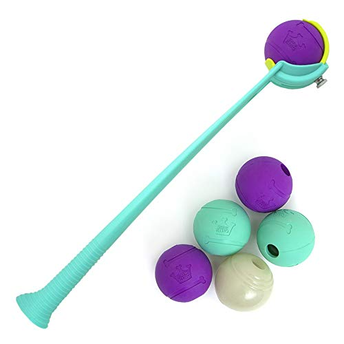 Chew King Ball Launcher with 6 Durable 2.5 inch Balls, Adjustable Distance Design- Dog Toy, Fetch Ball