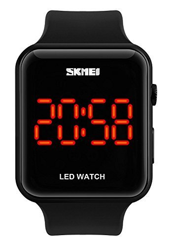 Gosasa Unisex Men's Women Simple Design Square Dial Rubber Band Digital LED Wrist Watch (Black)