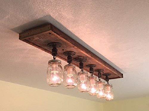 premium selection f5d8a 2c4c9 Amazon.com: 6 mason jar barnwood ceiling light/chandelier ...