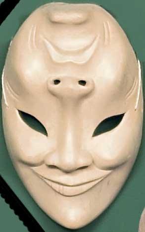 Happy/Sad Carved Wood Mask