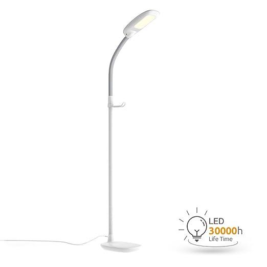 Aglaia Lámpara de pie LED para el salón, color blanco, con 3 modos de temperatura de luz y 4 modos de brillo. 11w