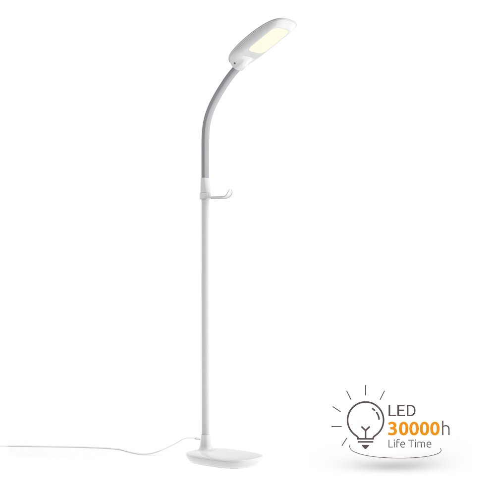 Aglaia LED Reading Floor Lamp, Dimmable Standing Lamp with Gooseneck for Living Room, Eye-Cared Touch Control Light, 11W, 3 Color Modes, 4-Level Dimmer – White