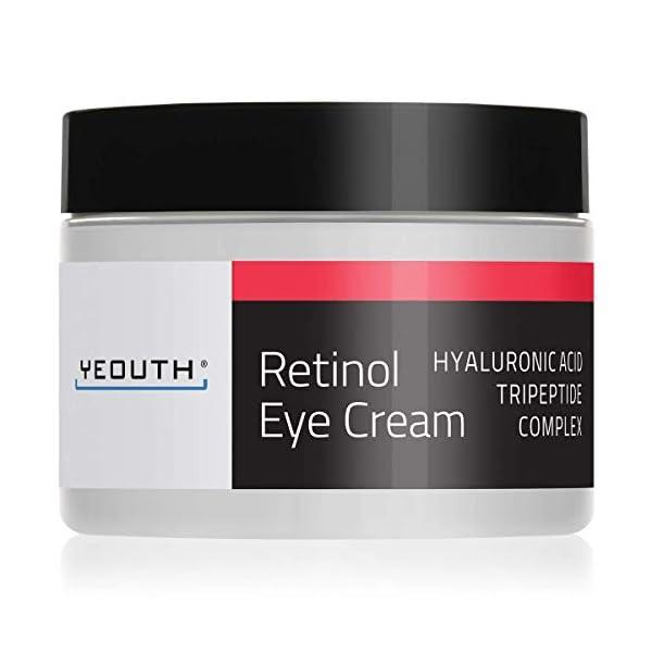 Crème pour les yeux Rétinol 2.5% de YEOUTH boostée avec du Rétinol, acide hyaluronique, thé vert.
