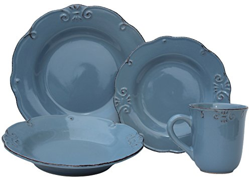 Melange 16 Piece Antique Edge Stoneware Dinner Set Place Set